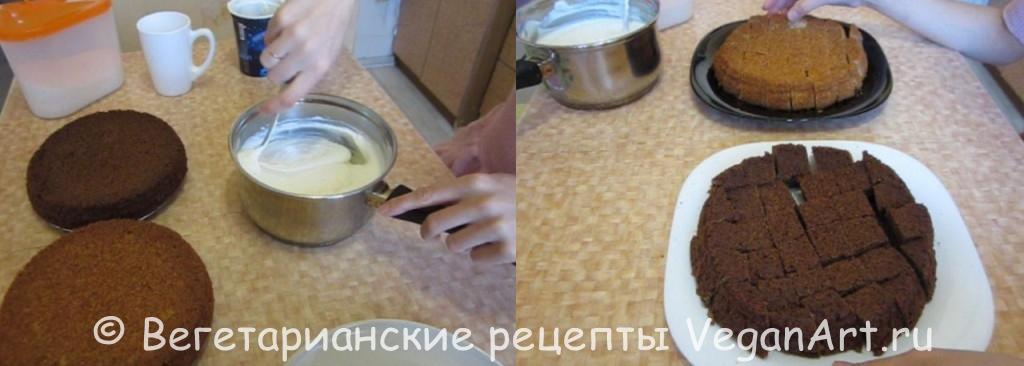 Замешиваем крем и разрезаем бисквит
